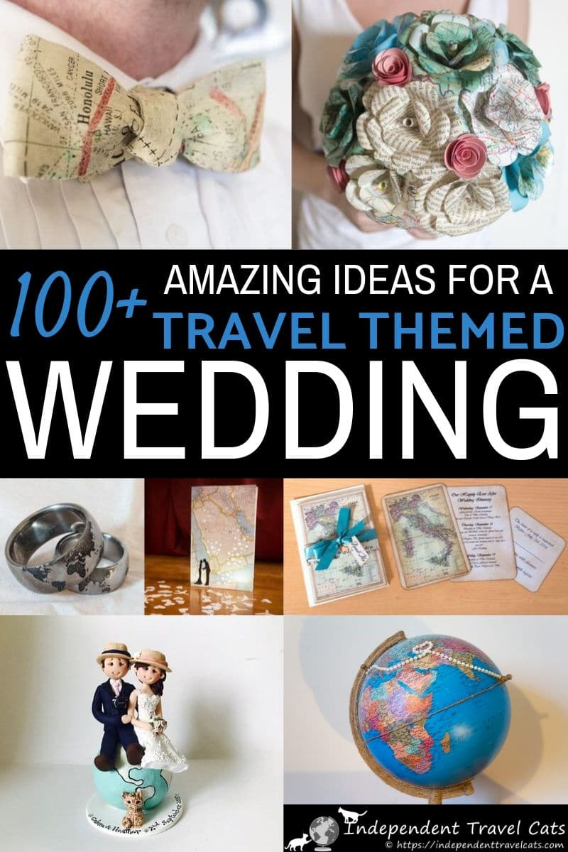 All the inspiration you need to plan your own travel themed wedding. Over 100 ideas for travel themed wedding invitations, wedding rings, wedding decorations, cufflinks, table place cards, cake toppers, DIY ideas, wedding favor gifts, and more! Let your love of travel show on your wedding day! #travelthemedwedding #destinationwedding #wedding #weddingplanning #travelthemedparty #travel #wanderlust #travelthemeddecorations
