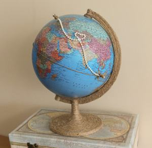 custom globe travel themed wedding destination wedding