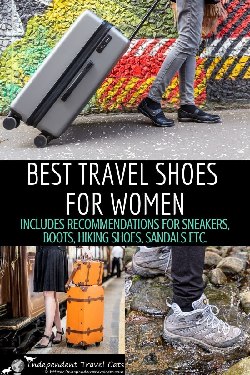 A comprehensive guide to finding the best travel shoes for women. Travel shoes are important and we recommend shoes suitable for all budgets, travel styles, & trips so you can find the perfect shoes for traveling. Our travel shoe guide includes recommendations for best all-round travel shoes for women, sneakers, mary janes, boots, hiking shoes, snow boots, sandals, dress shoes & more! #travelshoes #shoesfortravel #travelshoesforwomen #womensshoes #travelaccessories #travelfashion #travel #shoes