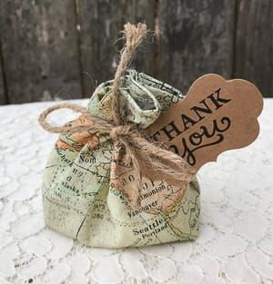 map fabric wedding favor bag travel themed wedding destination wedding