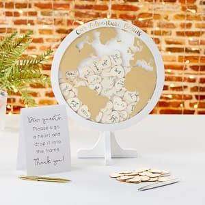 globe shadowbox guest book alternative travel themed wedding destination wedding