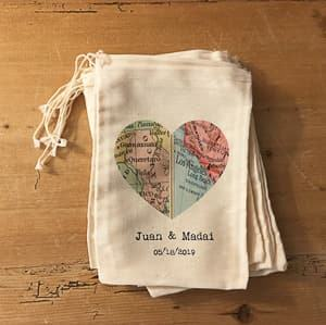 custom fabric wedding favor bag travel themed wedding destination wedding