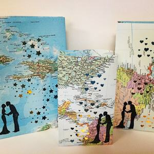 map luminary candle bags travel themed wedding destination wedding