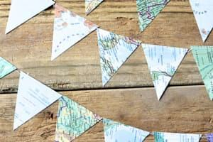map garland bunting party travel themed wedding destination wedding