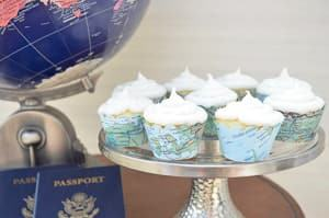map cupcake wrappers travel themed wedding destination wedding
