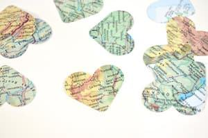 map confetti party travel themed wedding destination wedding