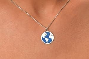 blue globe wedding necklace travel themed wedding destination wedding