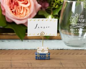 suitcase table place card holders travel themed wedding destination wedding