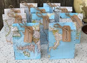 map wedding favor bag travel themed wedding destination wedding