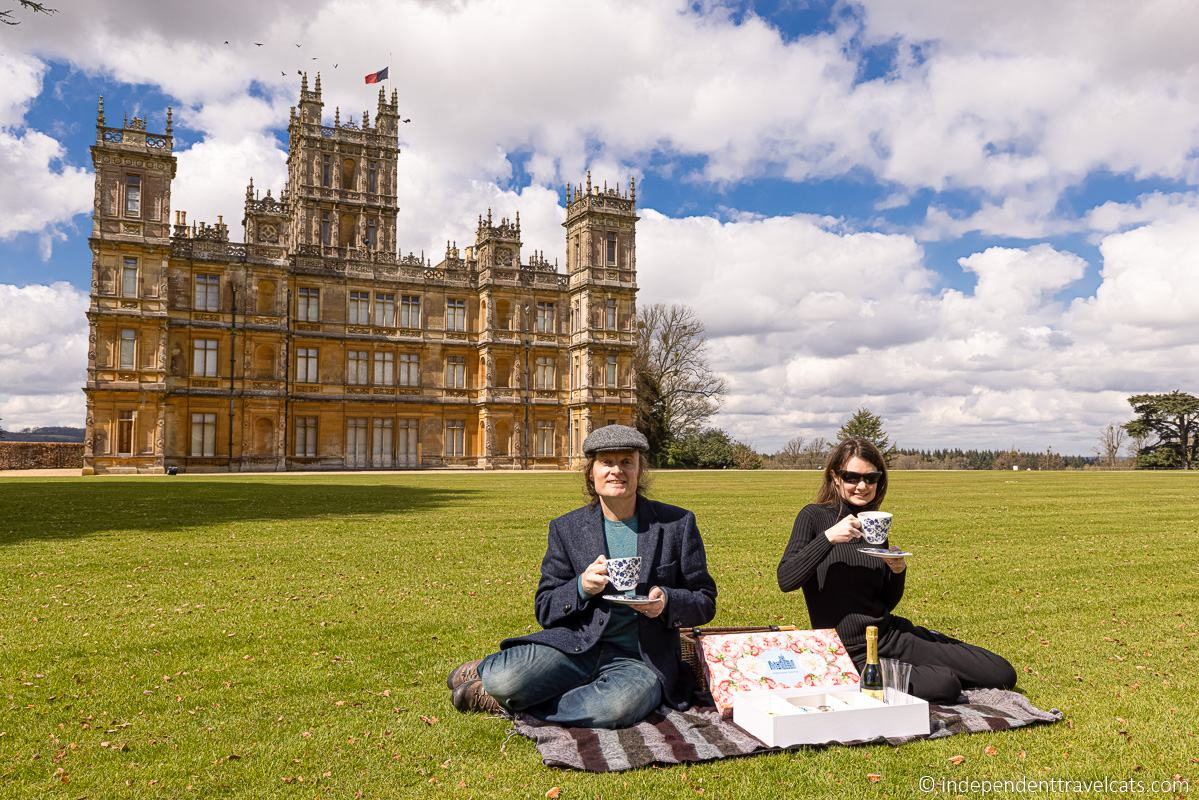 Highclere Castle afternoon tea picnic basket on lawn
