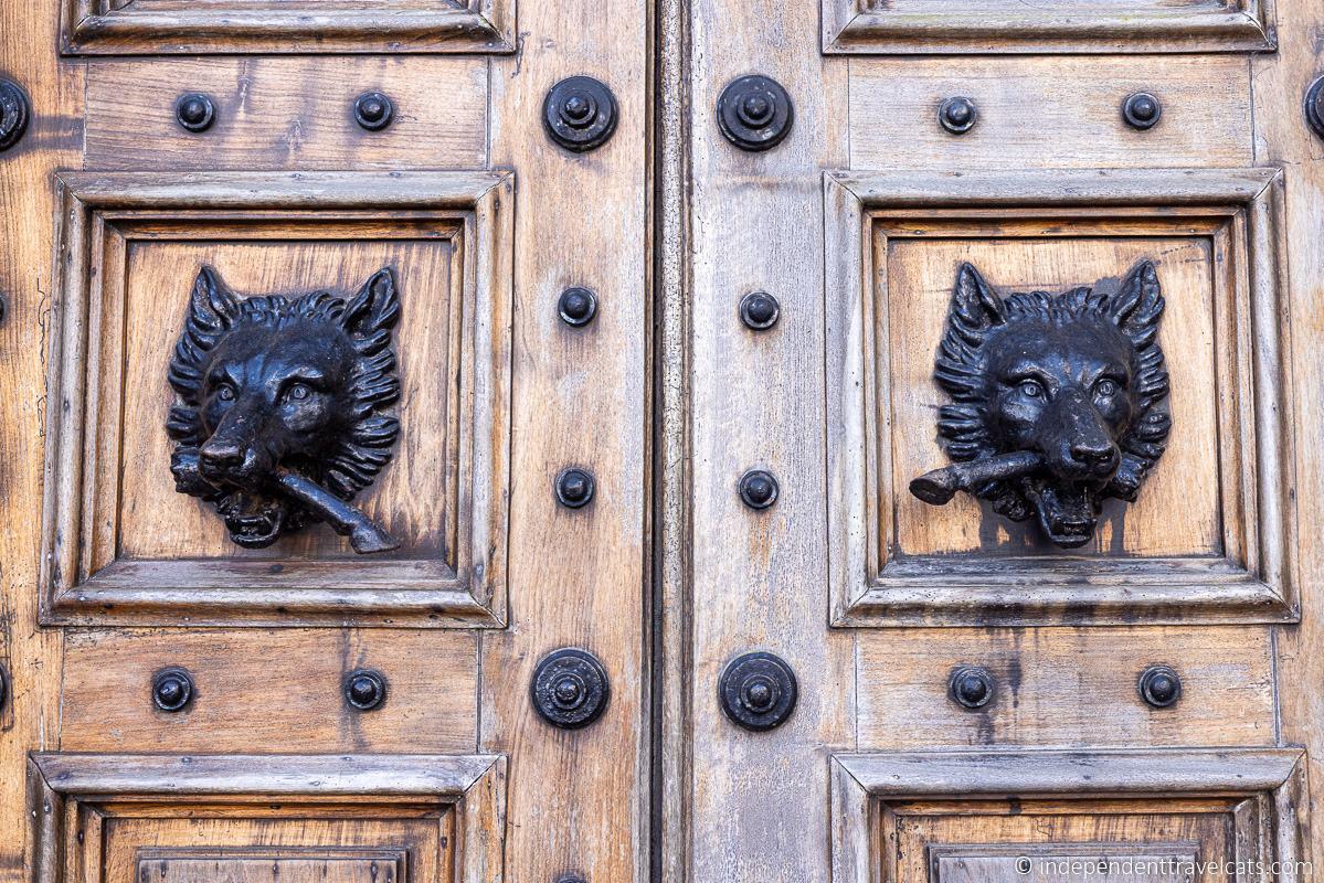 door knockers of Highclere Castle main entrance doors
