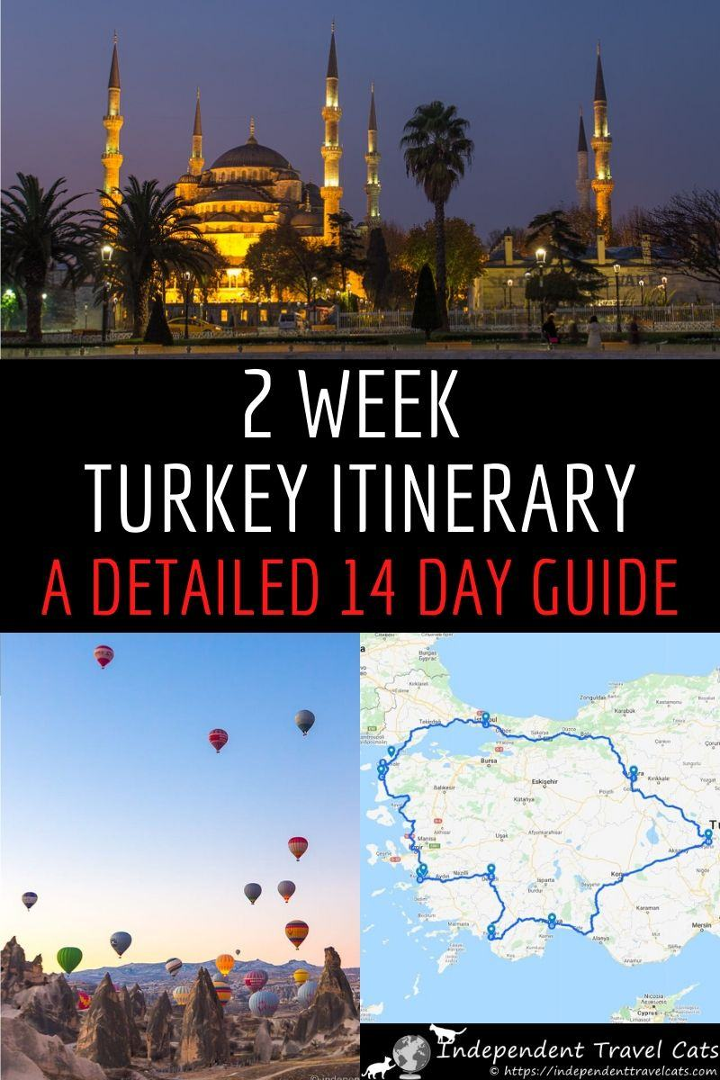 Our 2 week Turkey itinerary will help you plan the perfect trip to Turkey. Our detailed 14 day Turkey itinerary includes Istanbul, Cappadocia, Antalya, Fethiye, Pamukkale, Kusadasi, Ephesus, Troy, Gallipoli and Ankara. Two weeks in Turkey gives you time to explore Turkey's cosmopolitan cities, ancient archaeological sites, beaches, bazaars & scenic landscapes. We also give tips & advice to help you get the most out of your Turkey vacation! #Turkey #TurkeyItinerary #Turkeytravel #2weeksinTurkey