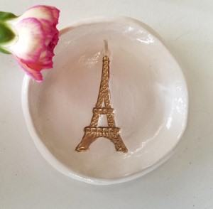 Eiffel tower trinket dish Paris ring dish travel themed home decor handmade travel home decorations furnishings