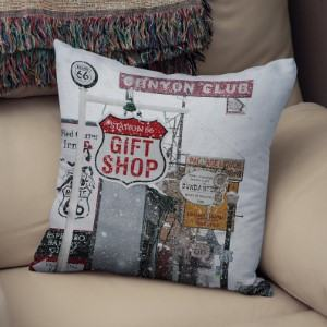 Route 66 travel photo throw pillow travel themed home decor handmade travel home decorations furnishings