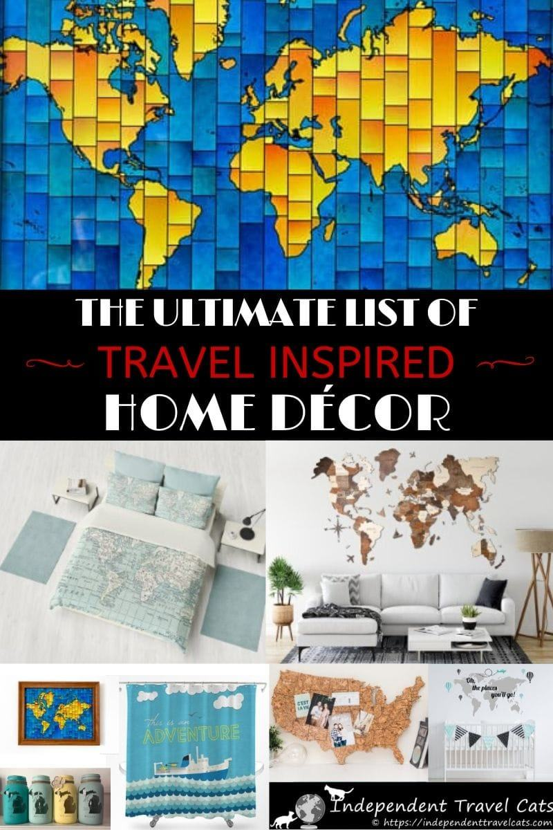 The ultimate list of travel themed home decor items for every room of your house or for a gift for a special traveler. Many of these travel inspired home decoration pieces are handmade and unique. List includes travel inspired home decorating ideas for the living room, kitchen, bathroom, bedroom, nursery, home office, and much more! #homedecor #travelthemed #homedecorations #travel #decorating