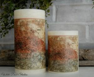 vintage map pillar candles travel themed home decor handmade travel home decorations furnishings