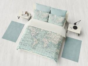 blue world map bedding duvet pillow bedroom travel themed home decor handmade travel home decorations furnishings