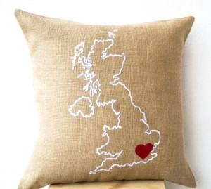 country outline burlap pillowcase travel themed home decor handmade travel home decorations furnishings