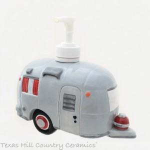 ceramic travel trailer soap dispenser RV travel themed home decor handmade travel home decorations furnishings