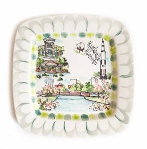 Huntsville Alabama custom handpainted dishes platter travel themed home decor handmade travel home decorations furnishings