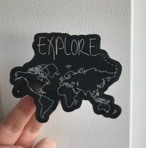 black world map decal sticker laptop travel themed home decor handmade
