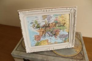framed map with love quote travel themed home decor handmade travel home decorations furnishings