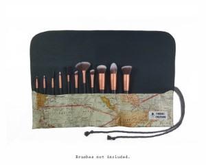 map fabric travel makeup brush roll travel themed home decor handmade travel home decorations furnishings