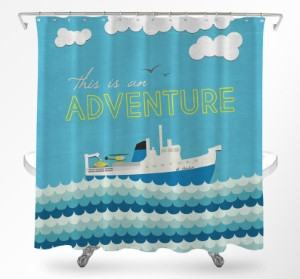 boat shower curtain nautical travel themed home decor handmade travel home decorations furnishings