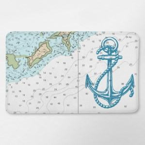 nautical map bath mat anchor bathroom travel themed home decor handmade travel home decorations furnishings