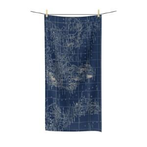 navy map bath towel travel themed home decor handmade travel home decorations furnishings