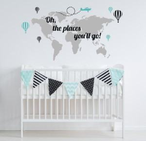 Oh the Places You'll Go map wall decal nursery travel themed home decor handmade travel home decorations furnishings