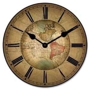 wood antique map wall clock travel themed home decor handmade travel home decorations furnishings