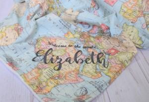 personalized map baby blanket travel themed home decor handmade travel home decorations furnishings