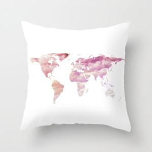 pink world map throw pillow travel themed home decor handmade travel home decorations furnishings
