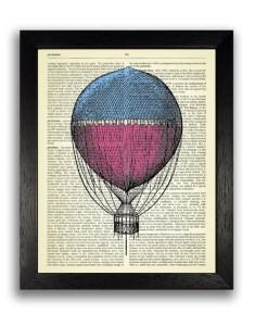 hot air balloon steampunk drawing art travel themed home decor handmade travel home decorations furnishings