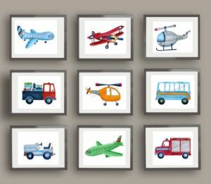 transportation themed wall art nursery boy's room travel themed home decor handmade travel home decorations furnishings