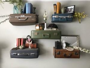 vintage suitcase shelf travel themed home decor handmade travel home decorations furnishings