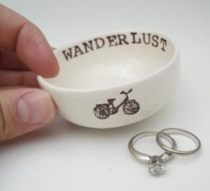 wanderlust bike ring dish travel themed home decor handmade travel home decorations furnishings