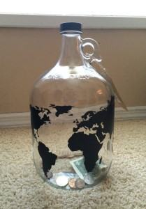 glass travel fund jar saving money travel themed home decor handmade travel home decorations furnishings