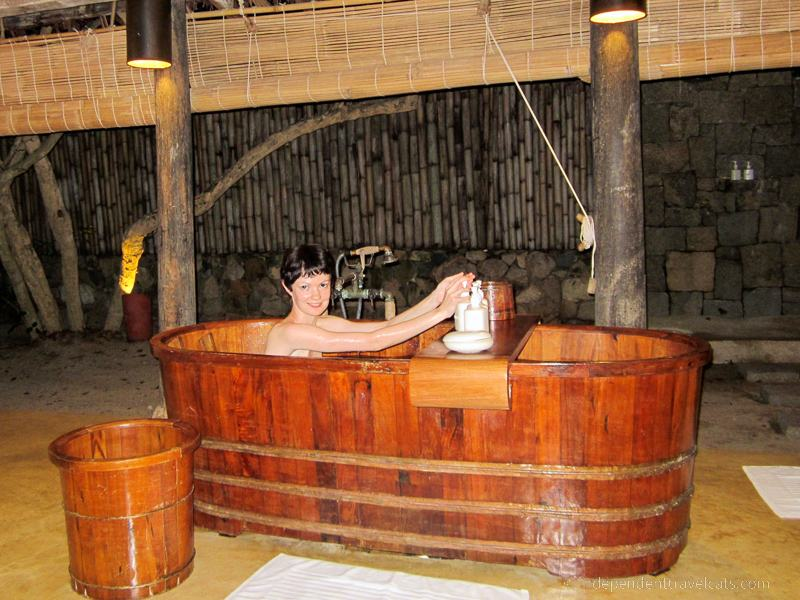wooden bathtub taking a bath while traveling travel tips for bath lovers outdoor bathing