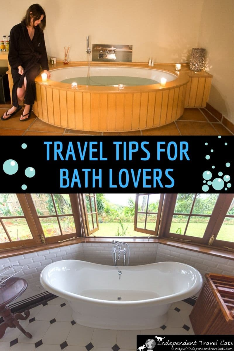 If you prefer taking a bath rather than a shower, then you may enjoy these travel tips for bath lovers! Soaking in a bath can be a fantastic experience after an exhausting day of sightseeing or hiking. We provide several tips for traveling bath lovers. We give tips on how to find accommodation with bathtubs, accommodation booking tips, what to pack for your trip, and how to deal with annoying issues like missing bathtub drain plugs. #traveltips #bathtub #traveling #bath #travel #bathing