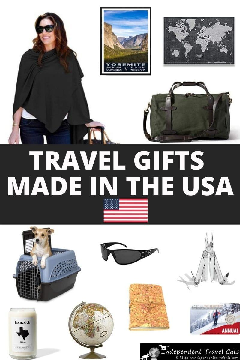 The ultimate guide to travel products made in the USA! A list of travel-related products made in the United States that includes travel clothing, luggage, travel-inspired jewelry, travel accessories, travel pet accessories, scarves, home decor, sunglasses, and more. This guide will help you find the perfect American-made gift for the travel lover in your life. #giftsfortravelers #madeinUSA #madeinamerica #giftguide #americanmade #travelgifts #giftsfortravelers #giftsfortravellers #travel