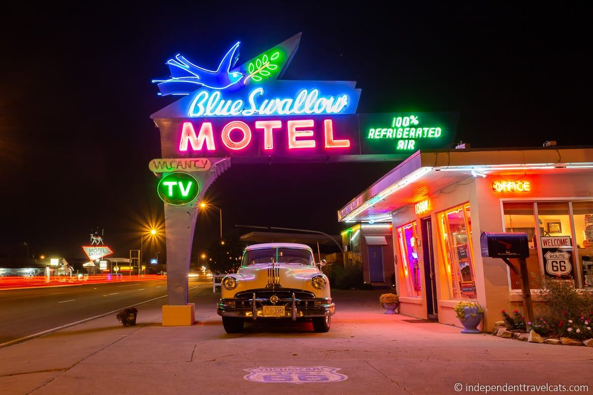 Blue Swallow Motel neon sign historic Route 66 motels hotels accommodation along Route 66