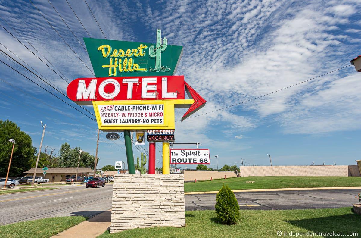 Desert Hills Motel sign in Tulsa Oklahoma Route 66 motels