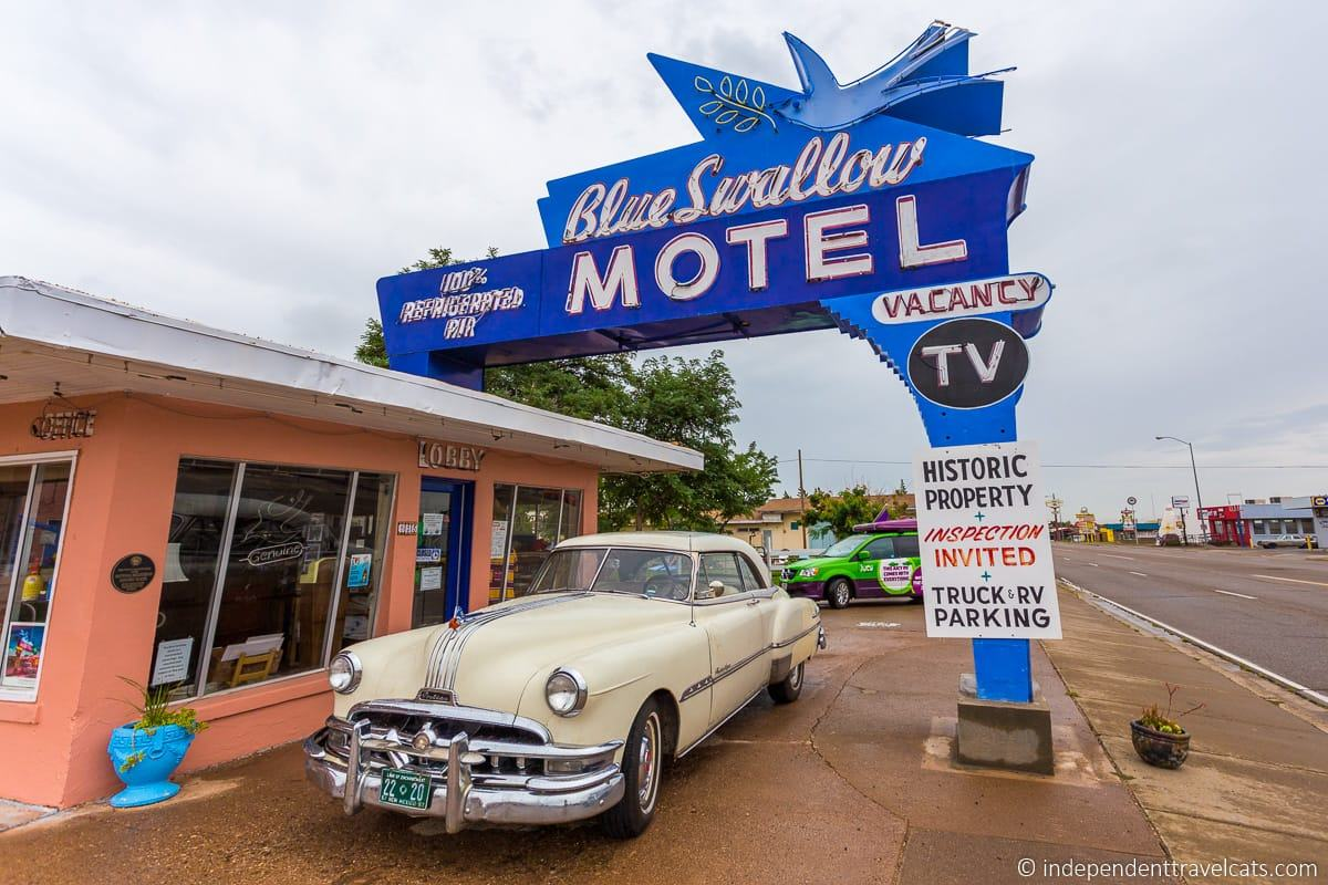 Route 66 motel Blue Swallow Motel sign lodging along Route 66