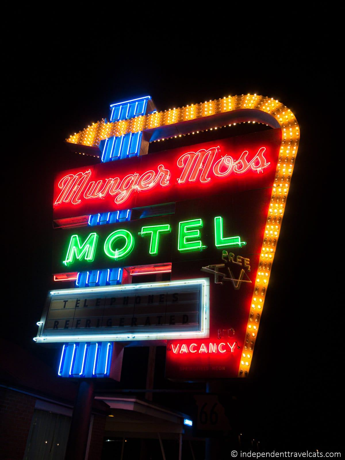 Munger Moss Motel neon sign at night Route 66 motels neon signs
