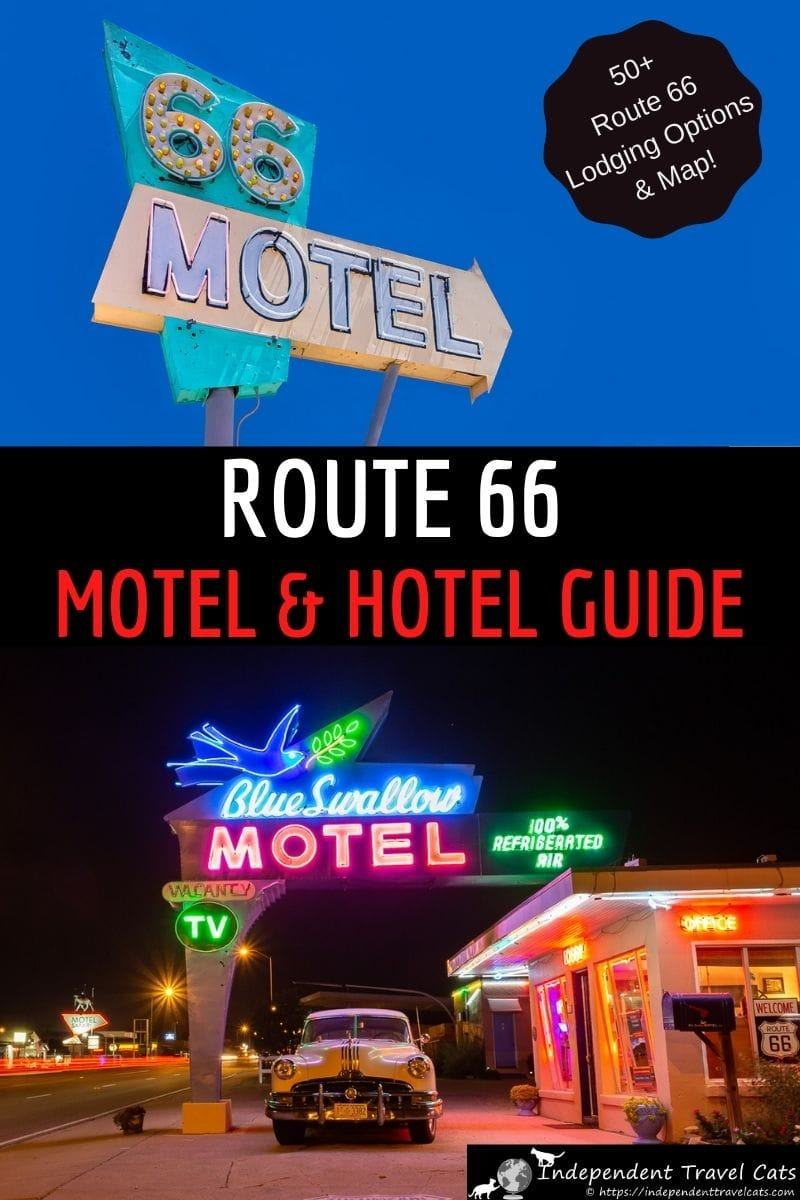 A guide to historic Route 66 motels and hotels along the entire stretch of Route 66 from Chicago to Santa Monica. We list over 50 vintage Route 66 motels and hotels along the route with information and booking details for each one so you can easily plan your road trip. We focus on historical Route 66 hotels and motels that are well-rated and well-located along the route. #route66 #route66motels #historicmotels #vintagemotels #route66hotels #accommodation #motels #hotels #travel #usatravel